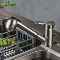 Wholesale And Retail Brushed Nickle Finish Kitchen Sink Mixers Single Level Pull Out Sprayer Hot And