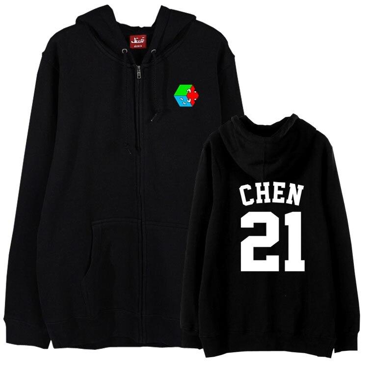Autumn winter fleece kpop hoodie jackets plus size exo cbx hey mama album member name printing zipper sweatshirt