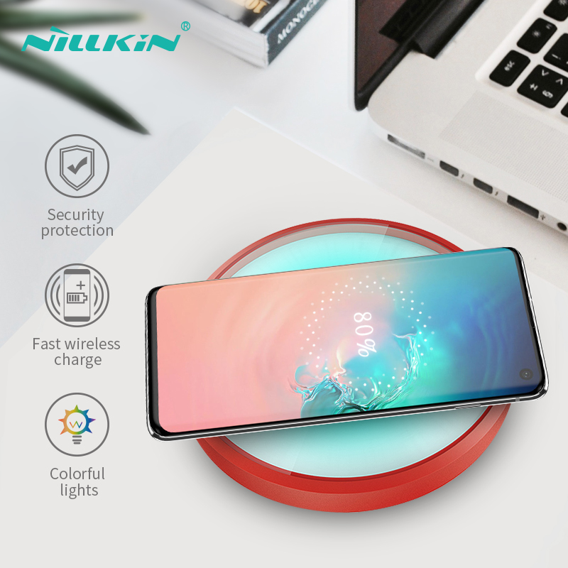 NILLKIN 10W Qi Wireless Charger For Samsung Galaxy S7 Edge Note 8 9 Magic Light Wireless Charging Pad For Samsung S10 S8 S9 Plus in Mobile Phone Chargers from Cellphones Telecommunications