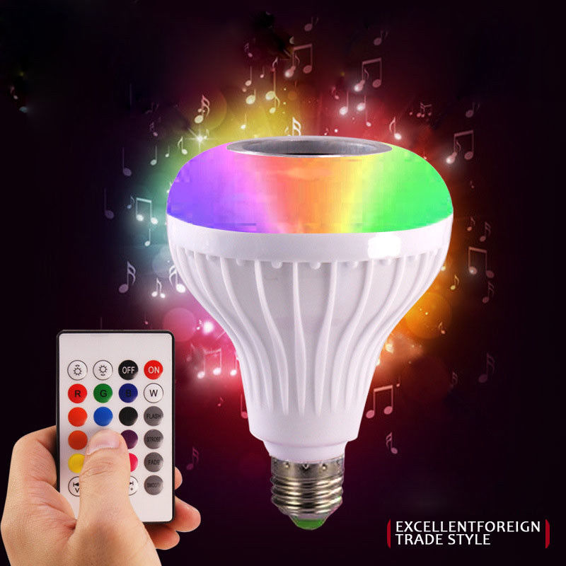 E27 Smart RGB RGBW Wireless Bluetooth Speaker Bulb 220V 12W LED Lamp Light Music Player Dimmable Audio 24 Keys Remote Controller