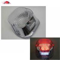 Motorcycle Clear 39 Red LED Tail Brake Stop Light Lamp For Harley Road King Glide Fatboy Touring with 4 White LEDs license Plate