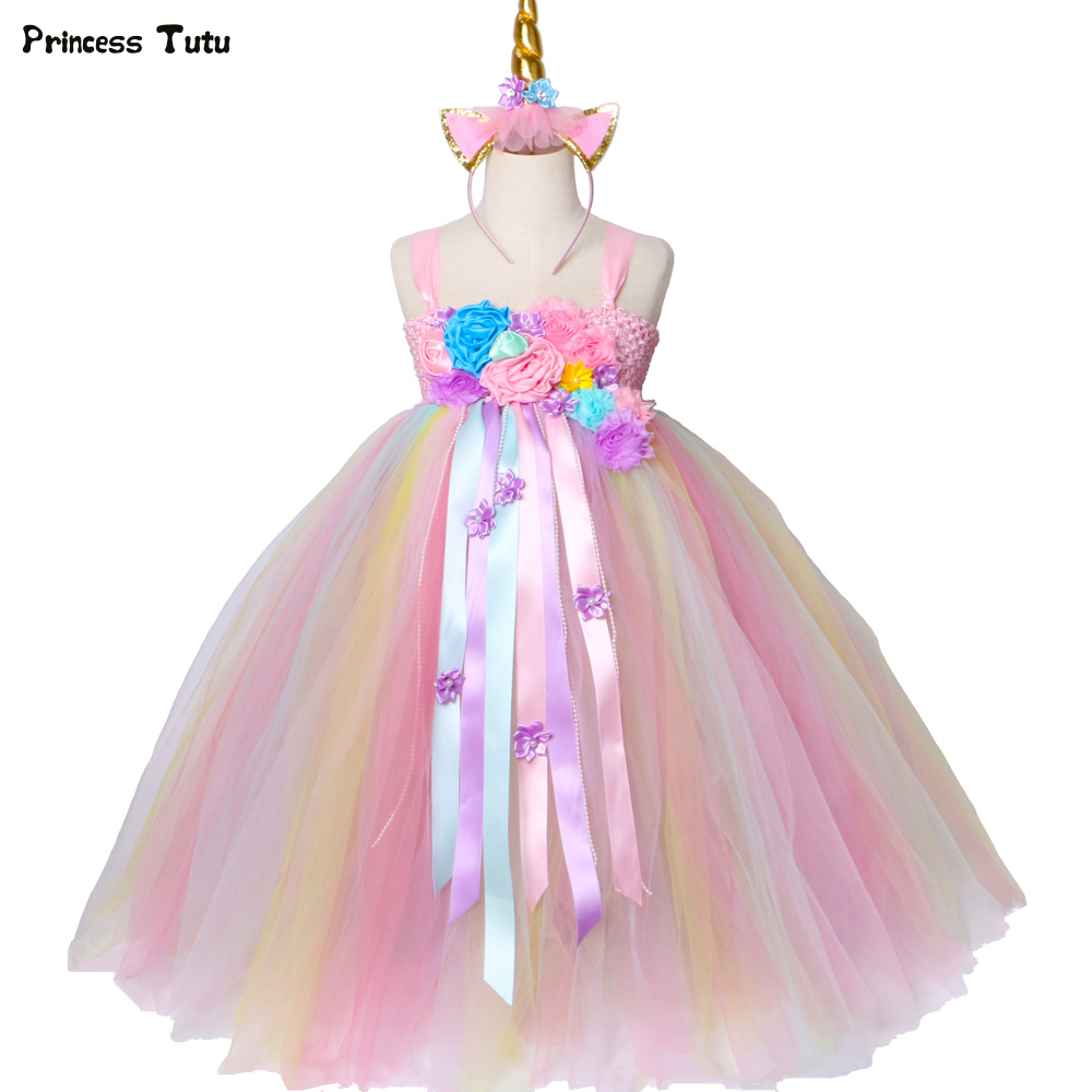 Girls Unicorn Tutu Dress Pastel Rainbow Princess Flower Girl Party Dresses Children Kids Birthday Halloween Unicorn Costume 1-14 pastel girls flower unicorn tutu dress sweet girl birthday party dress children kids tulle princess dress fancy unicorn costume