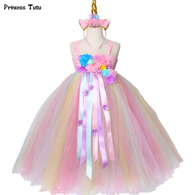 1986638299 Girls Unicorn Tutu Dress Pastel Rainbow Princess Flower Girl Party Dresses  Children Kids Birthday Halloween Unicorn Costume 1-14