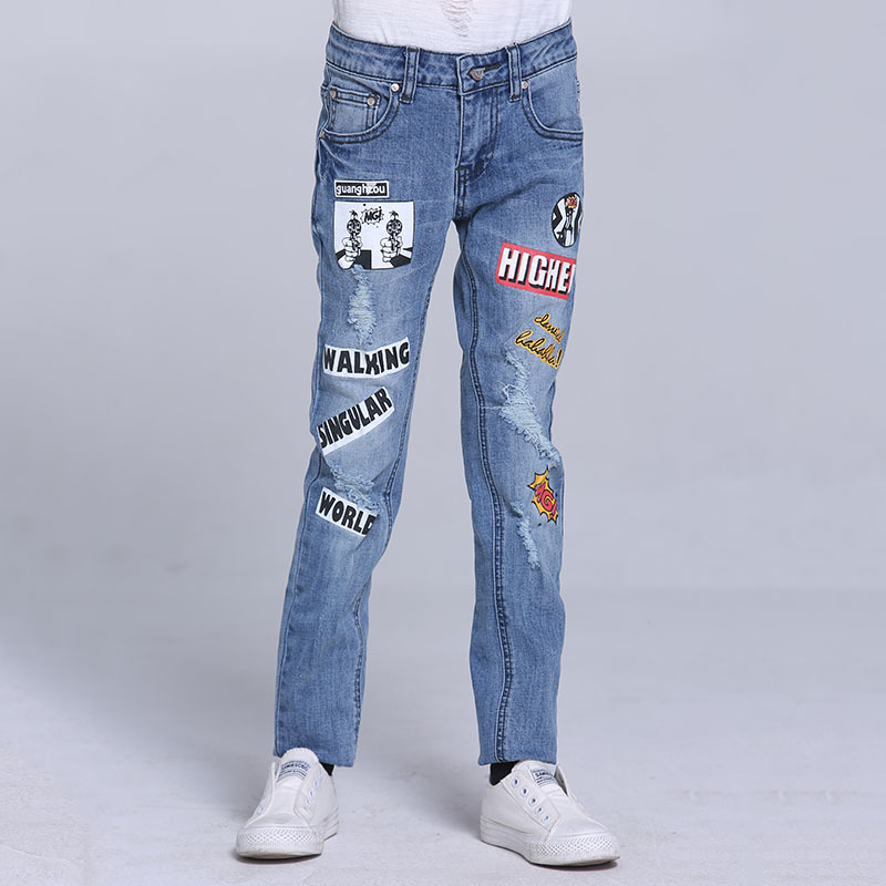 Girls Jeans Pants Pencil Print Solid Kids Jeans Trousers Letter Denim Casual Children Clothing Spring Size 9 10 11 12 13 14 Y hanlu spring hot fashion ladies denim pants plus size ultra elastic women high waist jeans skinny jeans pencil pants trousers