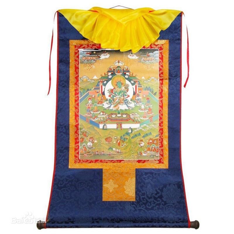 Tibetan Thang-ga Scroll Satin Painting Buddhist Porait gold Stamping Green Tara Hanging Thangka Figure of Buddha Free ship