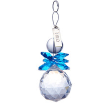 2PCS Clear Blue 30mm Glass Crystal Ball Christmas Snowman Hanging Pendants Suncatcher Chandelier Part Prism Tree