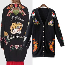 Sweater Jacket Women Cardigans Vintage Tiger Embroidery Knitted Basic Coats Big Size Long Casual Thicken Outwear