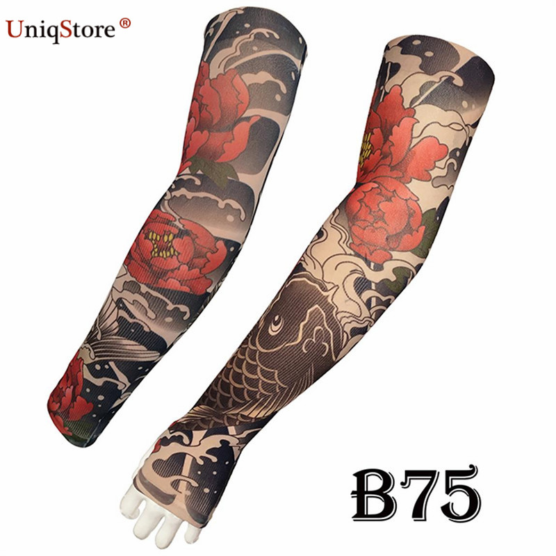 Uniqstore Summer 2pcs Arts Fake Tattoo Arm Sleeve Sunscreen Sun Protection Sleeves Outdoor Half-Finger UV Cover For Women/Men