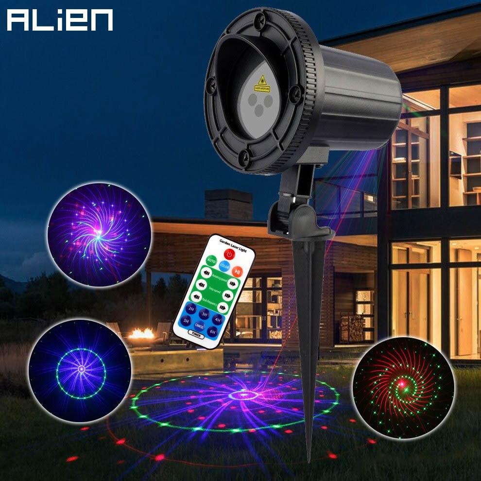 ALIEN Remote Outdoor Laser Motion Static 12 Patterns RGB Garden Laser Light Christmas Holiday Tree Decor Waterproof Show Lights