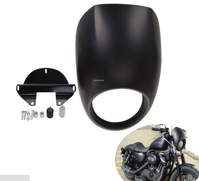 ФОТО Motorcycle accessories New Matte Black Head Light Fairing Mask Front Visor For Harley Sportster FX XL Dyna Cafe Racer Visor