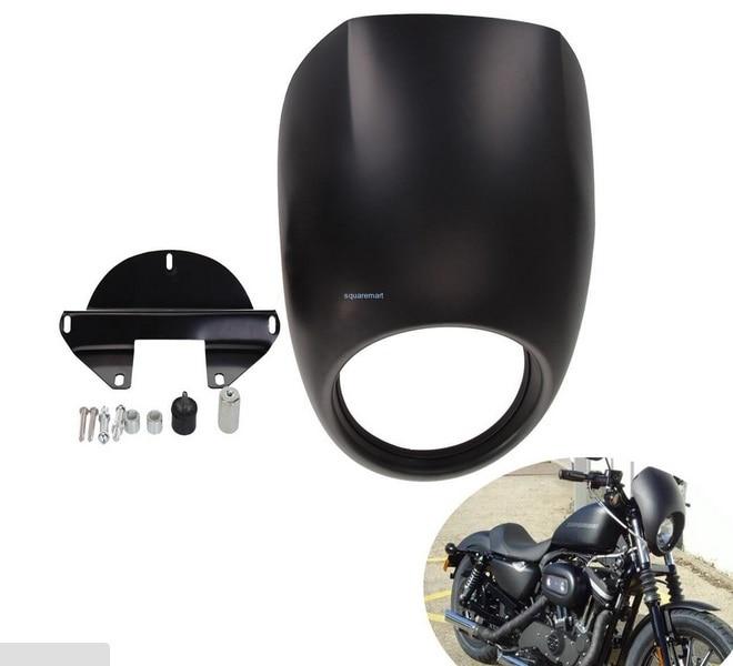 Nuevos accesorios de la motocicleta Negro Mate Carenado Luz Cabeza Máscara Frent