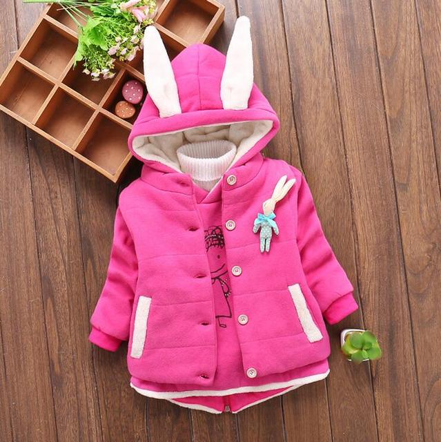 4-10 year-old girl fashion with thick cotton-padded jacket and vest + 2 PCS/set + free gift
