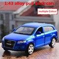 1:43 aleación tire hacia atrás coches, alta simulación Audi Q7 modelo A7, 2 puerta abierta, metal funde, automóviles de juguete, envío libre