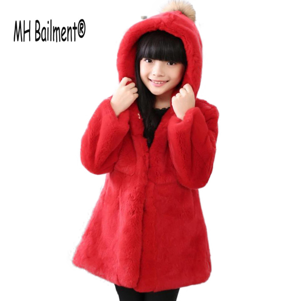 2017 New Girl Real Rabbit Fur Coat Winter Warm Long Thick Clothing Hooded Jacket Rabbit Long Sleeve Children Solid Jacket C#34 2015 new mori girl wave raglan hooded loose sleeve medium long wadded jacket female