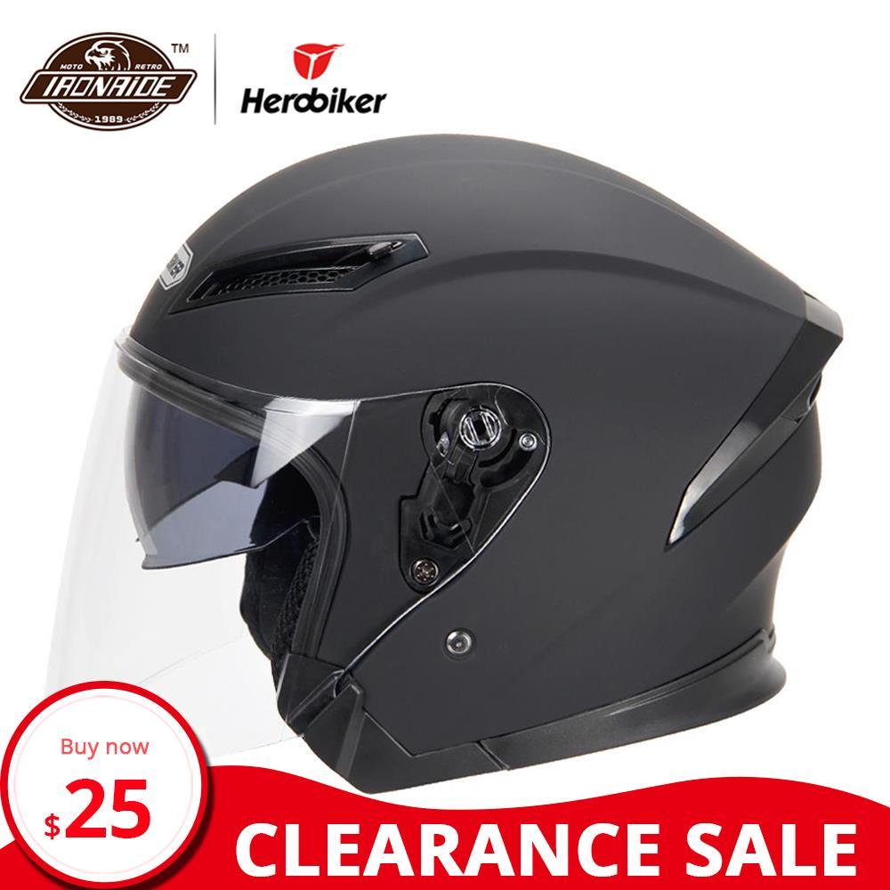 Clearance HEROBIKER Motorcycle Helmet Motorbike Helmet Motocross Casco Moto Helmet For Motorcycle 3/4 Face Cascos Para Moto