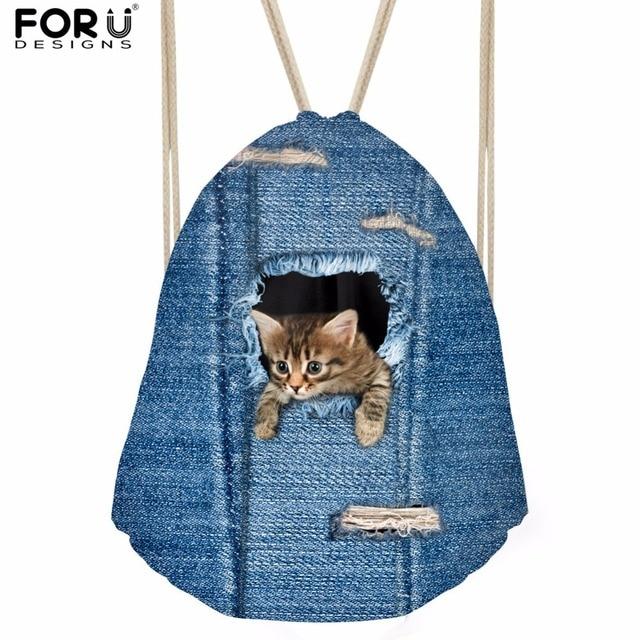 FORUDESIGNS Small Women Drawstring Bag Cute 3D Denim Animal Cat Dog Printed  Sport Female Drawstring Backpacks Travel Storage Bag ff6f1764ab7cb