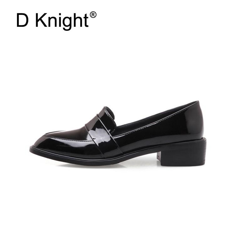 Large Size 32-43 Lady Casual Flat Loafers Shoes Fashion Patent Leather Pointed Toe Women's Flats British Black Red Women Oxfords (7)