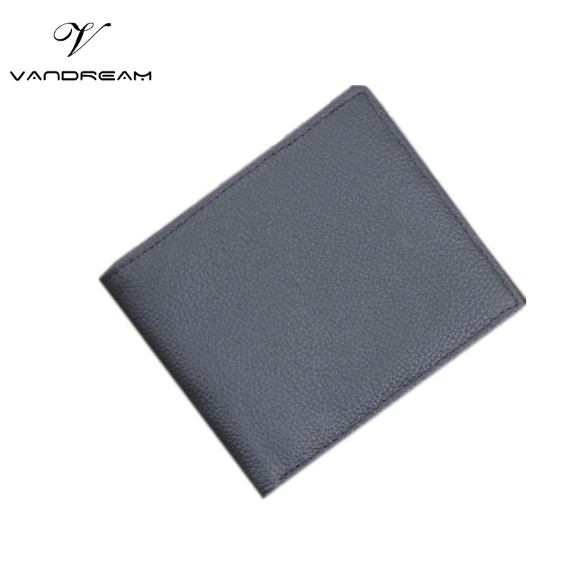 Genuine Leather Men Short Wallets Solid Black Vintage Fashion Famous Design Unisex Women / Men Purses Cowhide Card Holder Pocket