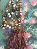 Plum Sari Silk Tassel Necklace Knoting Brown Crackled Fire Agates Beads Necklace Shabby Bohemia Urban Hippies