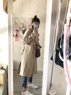 Spring And Autumn Women Fashion Brand Korea Style Waist Belt Loose Khaki Color Trench Female Casual Elegant Soft Long Coat Cloth 43