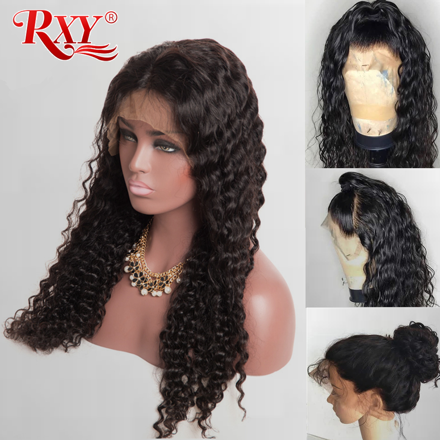 RXY Deep Wave Wig Glueless Lace Front Human Hair Wigs For Black Women Pre Plucked With