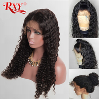 RXY Deep Wave Wig Glueless Lace Front Human Hair Wigs For Black Women Pre Plucked With Baby Hair Curly Lace Front Wig Non Remy