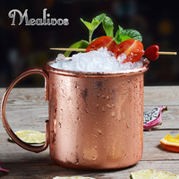 Mealivos 1Pc Stainless Steel Copper Plating Beer Milk Coffee Tea Mug Rose gold Drinkware Home Bar Drinking Cup With Handle