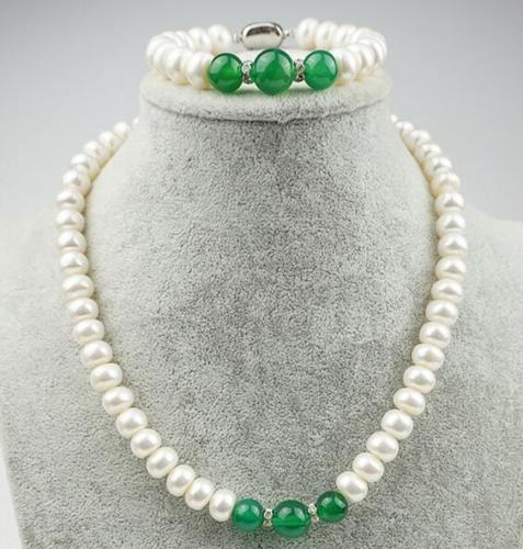 free shipping  >>>>Genuine Natural 5X7MM WHITE CULTURED PEARL & GREEN  necklace Bracelet AAA