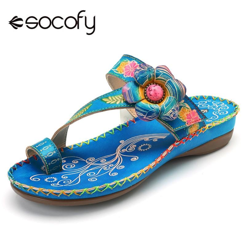 Socofy bohème plage pantoufles femmes chaussures en cuir véritable diapositives tongs Vintage imprimé à la main fleur dames chaussures d'été