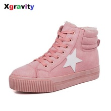 Xgravity Hot Sale Lady Cottom Snow Boots New Fashion European American Lady Flats Shoes Warm Woman Boots 2017 Pretty Boots S033