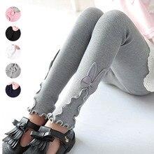 Осенне-весенние леггинсы для девочек; детская одежда; милые леггинсы для девочек с бантом и оборками; эластичные брюки; Pnats