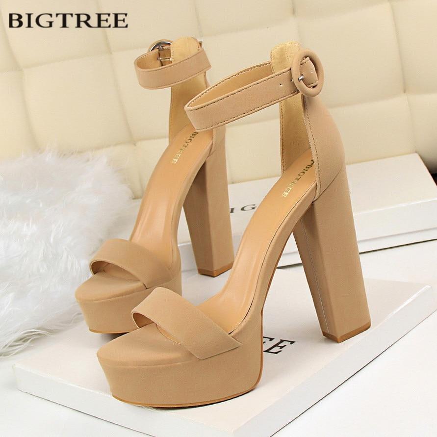 BIGTREE European Fashion Women Platform Sandals Suede Thick Heeled Pumps Buckle Ladies Sexy Fashion High Heels Sandal G1550-1