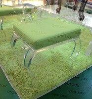 Один Lux акрил с ног квадратный Топ стула, lucite тщеславие табуреты, perspex пуфик с Подушки