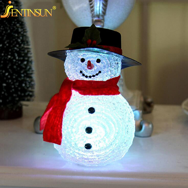 New Color Changing Led Christmas Snowman Night Light Lamp