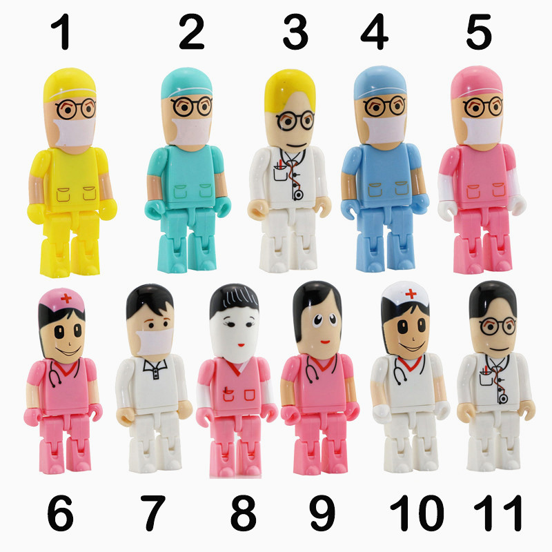 Hot Doctors Memory Stick Enfermeras PenDrive Dibujos animados Unidad Flash USB Pen Drive 8GB PenDrives 4G 16G Tarjeta Flash U Disco USB Drive