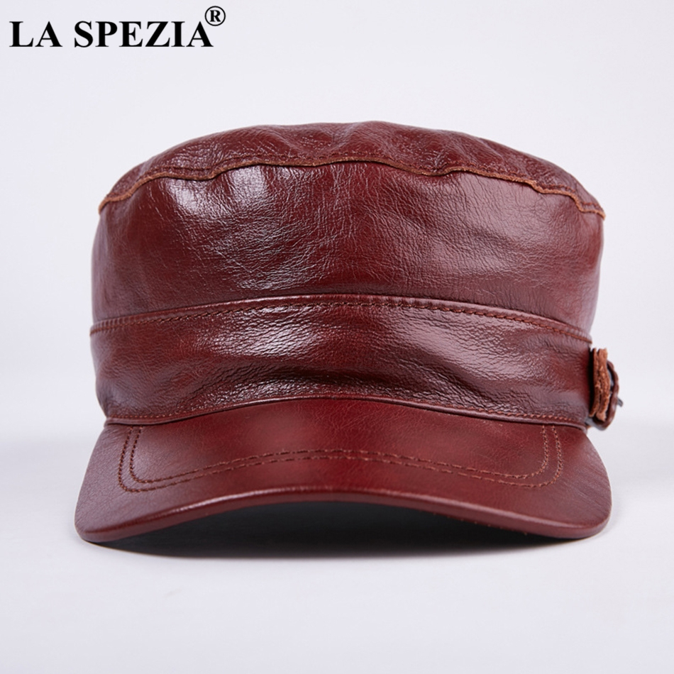 07e2176d1da LA SPEZIA Brown Hat military Style Men Genuine Leather Casual Army Hat Male  Winter Adjustable Duckbill Caps Classic Flat Top Cap-in Military Hats from  ...