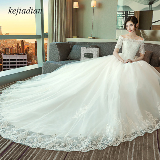 Bridal Gowns Vintage Lace half Sleeve ball gown Wedding Dress royal ...