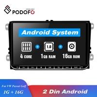 Podofo Авторадио 2 din android автомобильный Радио Стерео gps 9 дюймовый Bluetooth мультимедийный плеер для Passat Golf MK5 MK6 T5 EOS Polo Toura