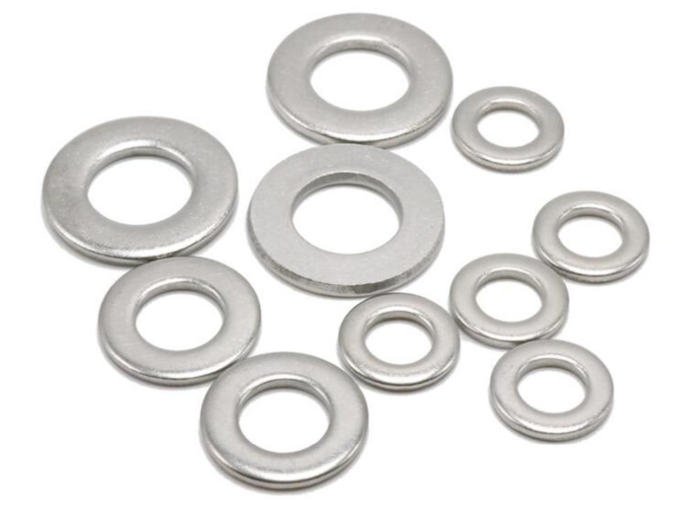 Купить с кэшбэком 100pcs M1.6 M2 M2.5 M3 M4 M5 M6 M8 M10 M12 Stainless Steel Flat Washer Plain Washer Insulation Gasket