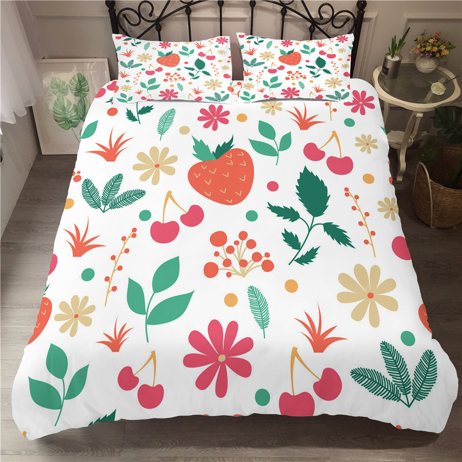 A Bedding Set 3D Printed Duvet Cover Bed Set Flowers Plant Home Textiles for Adults Bedclothes with Pillowcase #XH06-in Bedding Sets from Home & Garden