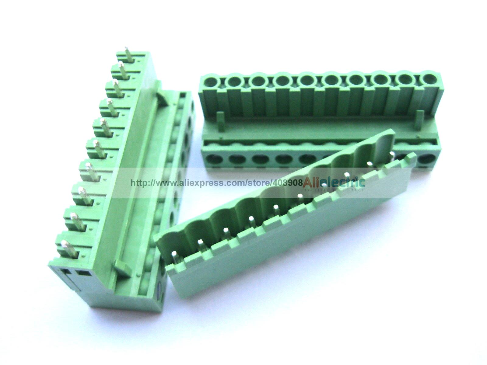 100 Pcs 5.08mm Straight 10 Pin Screw Terminal Block Connector Pluggable Green 100 pcs 5 08a 5 08mm straight 2 pin screw terminal block connector pluggable type