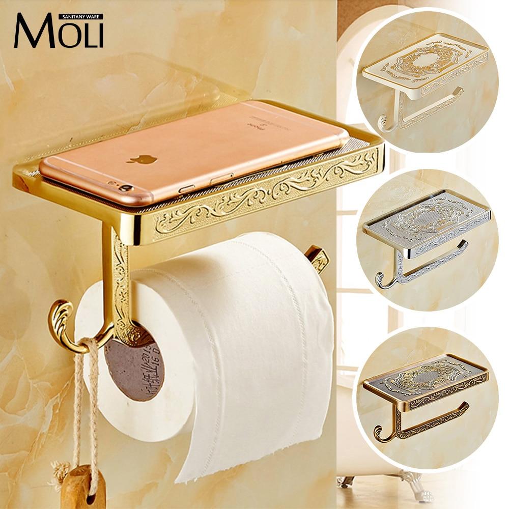 Gloden White Antique Brass Finish Solid zinc alloy toilet paper holder bathroom mobile holder wc rod toilet paper holder