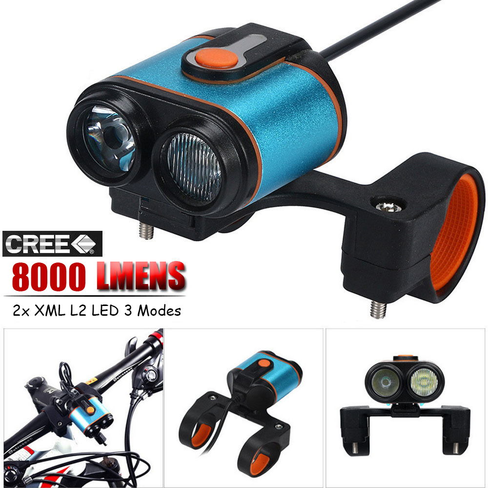 Outdoor Sports Cycling Equipment Bike Headlights 8000LM 2x XML L2 LED 3 Modes Bicycle Lamp Bike Light Headlight Cycling #245767 6000 lumen 3 xml l2 led bicycle bike light headlamp headlight lampe frontal 5 modes rechargable 6400mah battery pack for cycling
