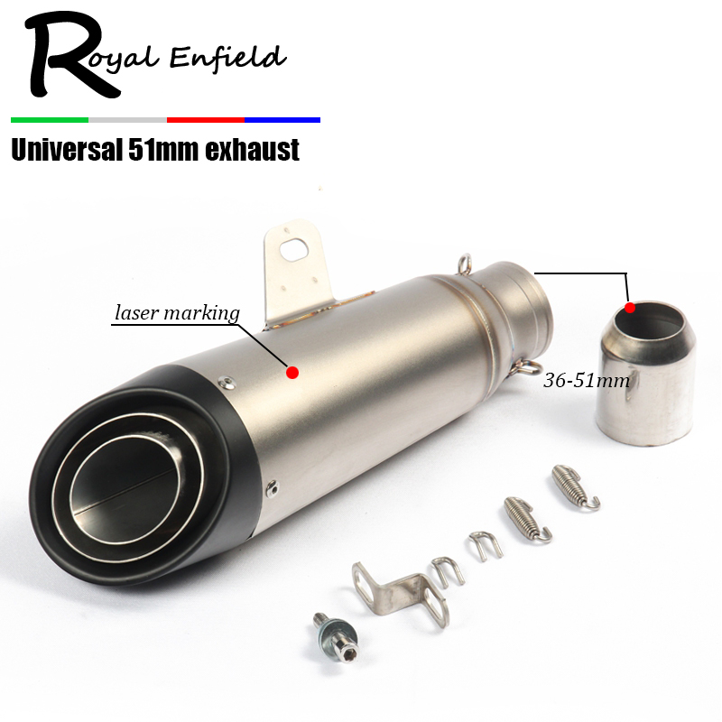 Universal 51MM 61mm Modified Motorcycle Exhaust Muffler for SC FZ6 YZF R1 R6 R3 MT07 zx6r z800 z900 mt09 fz09 gsxr750 cbr300 51mm universal modified motorcycle scooter exhaust pipe muffler for yamaha mt09 mt 09 03 01 tmax 500 530 r1 r3 r6 fz6 fjr v max