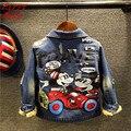 Moda inverno novas crianças denim jaquetas casaco grosso das crianças dos desenhos animados mickey meninos miúdo meninas veludo casuais outwear 16D1224