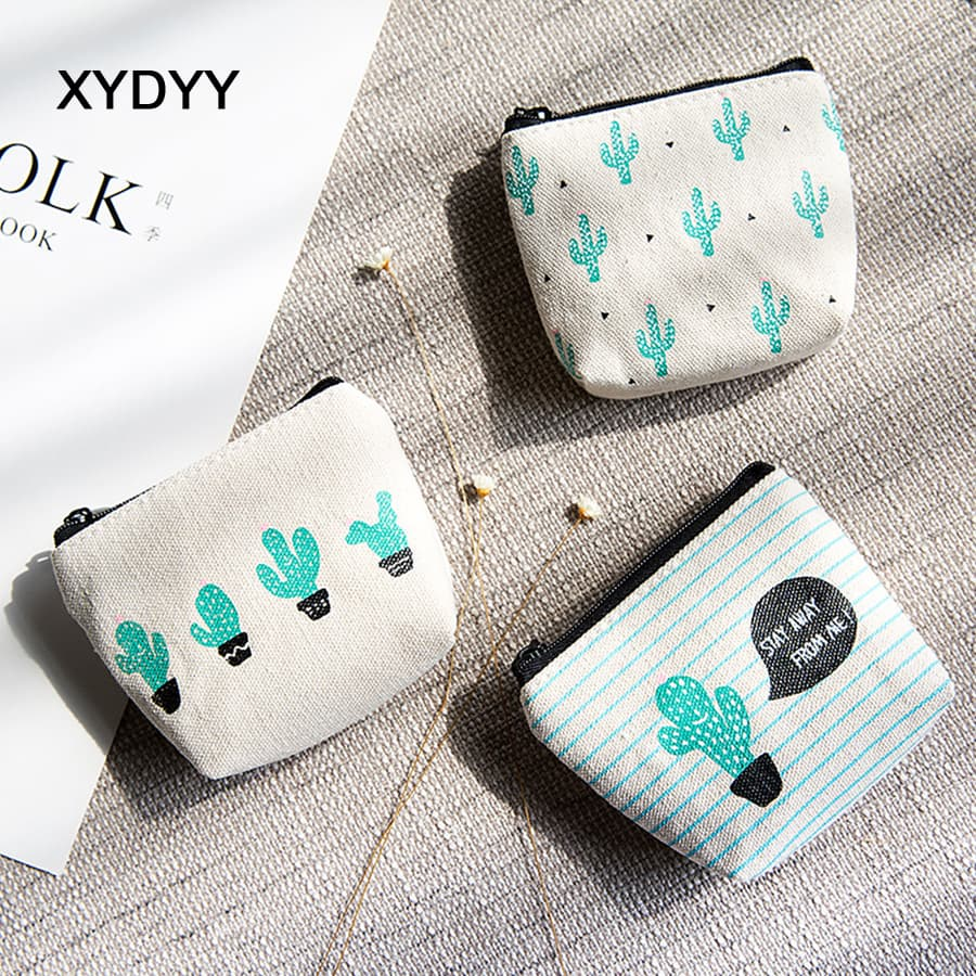 XYDYY Casual Cactus Prints Women Coin Purses Female Canvas Zip Coin Purses Small Square Change Coin Purse Pouch Wallet Handbag xydyy kawaii 3d cats dogs animal prints kids coin purse girls plush shoulder wallet change pouch boys mini messenger pouch bag
