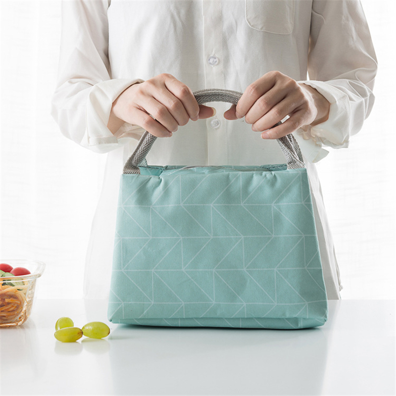 PACGOTH Geometric Leisure Bags Tote Lunch Bags Oxford Portable Simple Style Women Cooker's Thermal Convenient Lunch Bags 1 PC