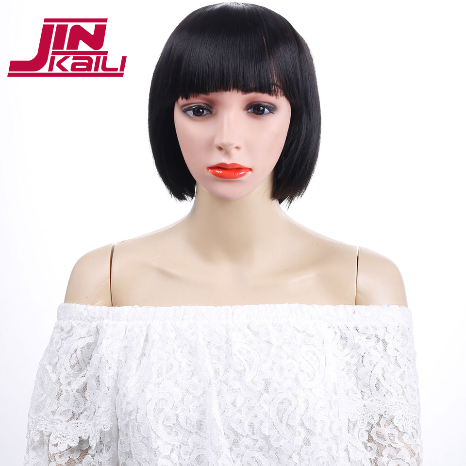 JINKAILI WIG Black Short Straight Bob With Bangs Cosplay Party Heat Resistant Synthesis Wigs Everyday For Women