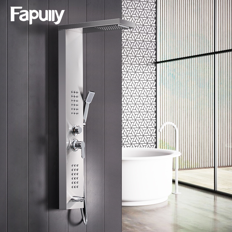 цена Fapully Shower Wall Panels Brushed Nickel Rain Waterfall Shower Panel Wall Mounted Massage System Handshower Shower Column Set