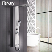 Fapully Shower Wall Panels Brushed Nickel Rain Waterfall Shower Panel Wall Mounted Massage System Handshower Shower Column Set